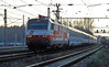 OBB 1014.011 passes a CD branch train as it arrives at Breclav with a EuroCity service in the late afternoon of 7 November 2006