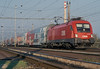 OBB 1116.218 heads for Wiener Neustadt as it leaves Breclav with a double deck push-pull set on 7 November 2006