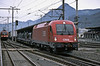 OBB 1216.021 passes Jenbach with one of the regular rolling road services from Worgl to Brenner on 27 October 2008