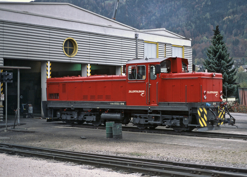 Zillertal Bahn D10 sits outside the depot at Jenbach on 27 October 2008