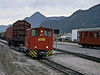 With a standard gauge wagon on a transporter wagon Zillertal Bahn D12 pauses in its shunting at Jenbach on 27 October 2008