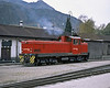 Zillertal Bahn D10 smokes its way across the yard at Jenbach on 27 October 2008 displaying the long bonnet end
