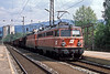 With what seems to be too much power for such a short train OBB 1042.578 and 1044.102 pull into Murzzuschlag on 17 May 1989