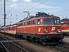 OBB 1042.599 backs a short passenger service into the platform at Wiener Neustadt on 17 May 1989