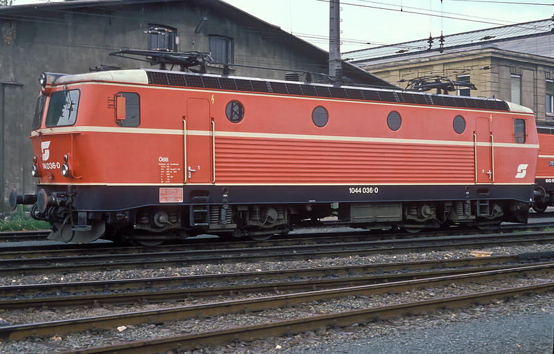 OBB 'Howling Gale' 1044.036 is at rest at Zfl Villach on 19 May 1989