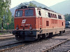OBB 2143.020 is seen running round its train at Puchberg am Schneeberg on 17 May 1989 before returning to Wiener Neustadt