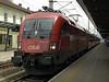 OBB 1116 100-7, Jenbach, 21 June 2006.  The 6400kW Taurus Bo-Bo arrives with a train for Innsbruck.
