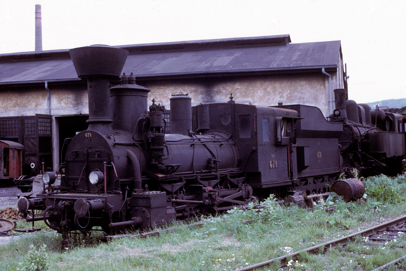 Graz Koflach Railway 0-6-0 No 671, Graz, July 1972 1.  Photo by Les Tindall.