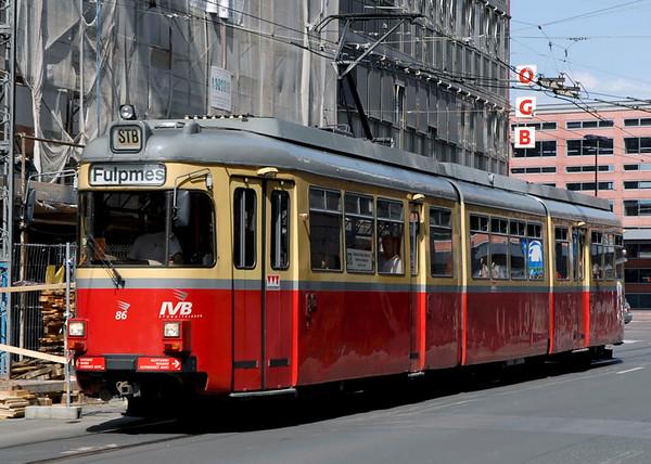 Tram 86, Innsbruck, 24 June 2006 - 1622   Setting off from Innsbruck main station for Fulpmes, 21km and one hour away.