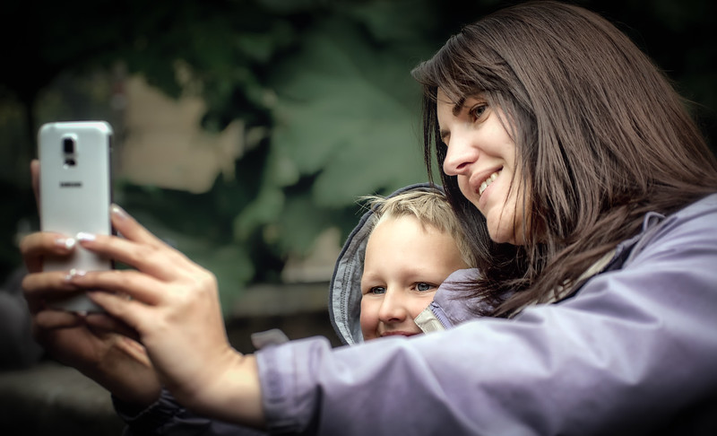 Mono of my Daughter & Grandson Taking a Selfie at Exmoor Zoo