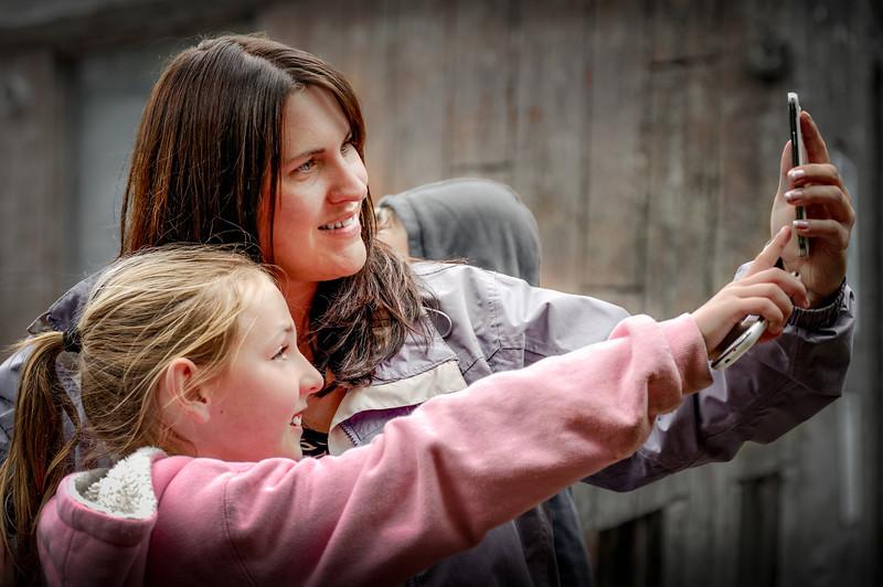 Daughter & Granddaughter Taking a Selfie at Exmoor Zoo