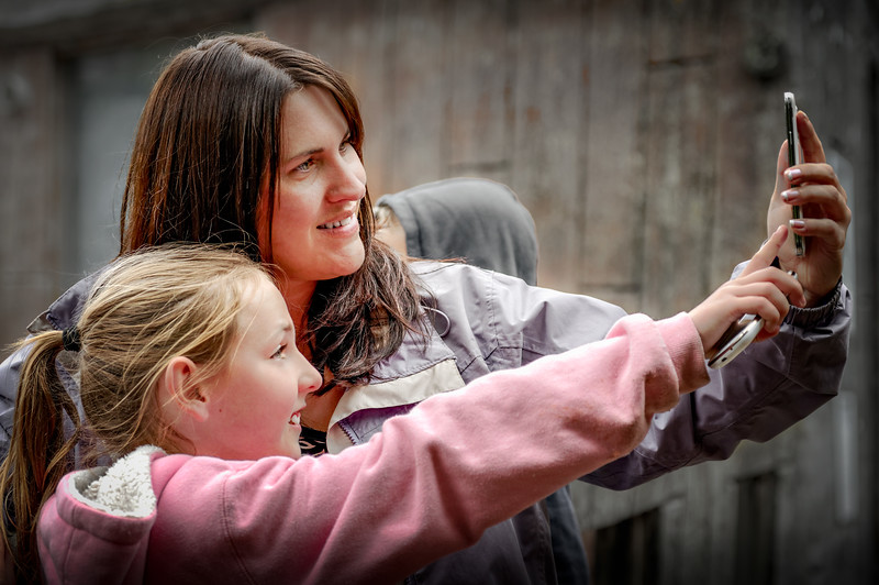 Daughter & Granddaughter Taking a Selfie at Exmoor Zoo