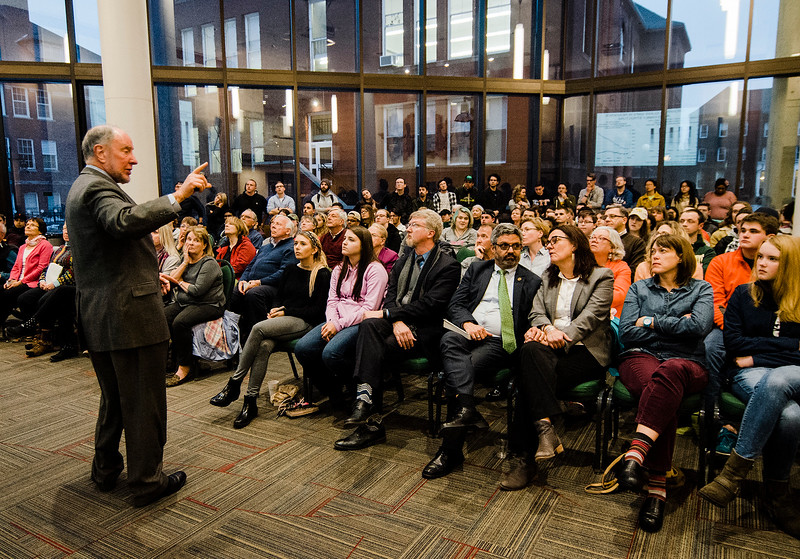 Robert Putnam, author of 'Our Kids: The American Dream in Crisis' speaks to a standing-room only crowd at Fitchburg State University during the keynote lecture as part of the Community Reads program on Tuesday, April 4, 2017. SENTINEL & ENTERPRISE / Ashley Green