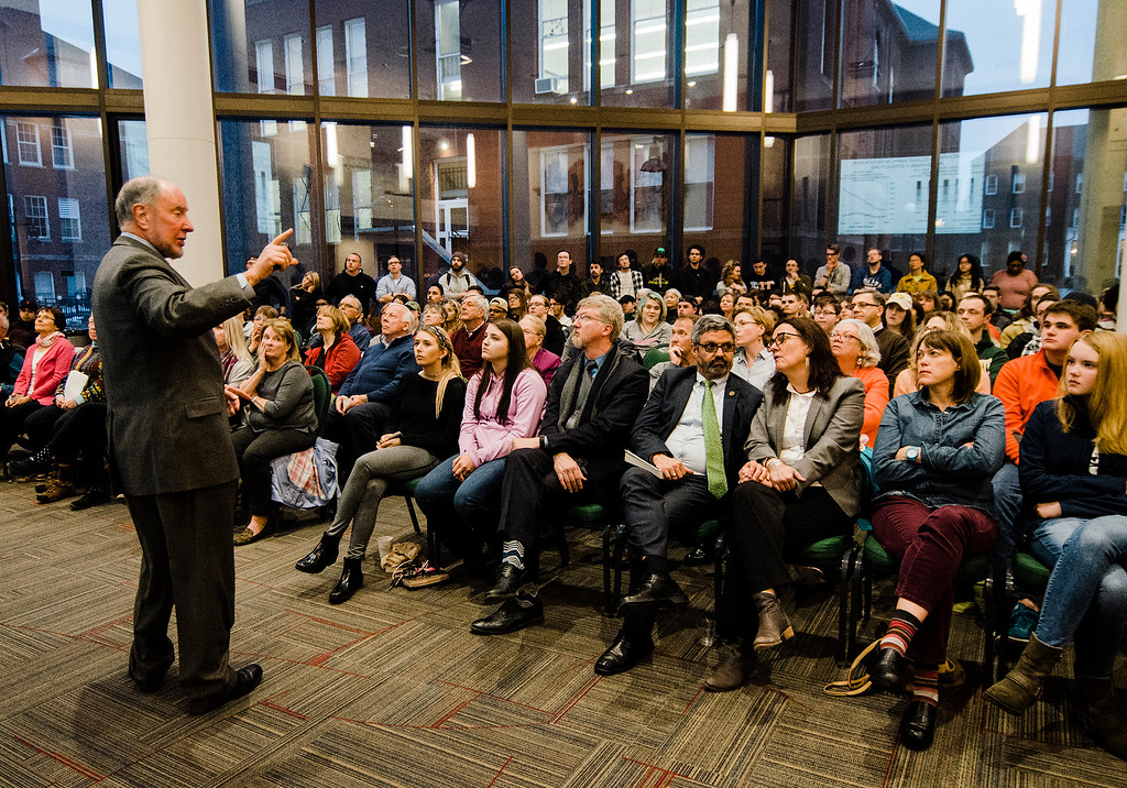. Robert Putnam, author of \'Our Kids: The American Dream in Crisis\' speaks to a standing-room only crowd at Fitchburg State University during the keynote lecture as part of the Community Reads program on Tuesday, April 4, 2017. SENTINEL & ENTERPRISE / Ashley Green