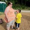 Bobbie-Joe Hernadez talks with her autistic son Jaedin, 9, when they visited Barrett Park on Thursday afternoon. SENTINBEL & ENTERPRISE/JOHN LOVE