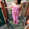 Mikaela Hernadez, 6 who is autistic, is all smiles as she plays at the playground during her visit to Barrett Park on Thursday afternoon. SENTINEL & ENTERPRISE/JOHN LOVE