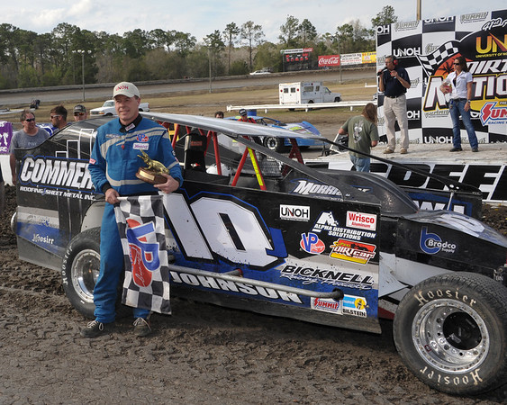 Alan Johnson in Victory Lane at Volusia Speedway Park.  Published in the Feb. 28th edition of AARN.