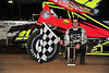 TSRS winner Kyle Reinhardt celebrates in Victory Lane at Bridgeport Speedway following his November 10th victory.  This photo appeared in the November 13th edition of Area Auto Racing News.