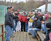 Promoter Doug Hoffman addresses the drivers prior to the 2012 season opener at Bridgeport Speedway.  This photo appeared in the April 3rd edition of Area Auto Racing News.