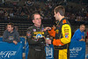 Stewart Freisen chats with Ted Christopher prior to racing action in Atlantic City.  This photo appeared in the Feb. 7th edition of Area Auto Racing News