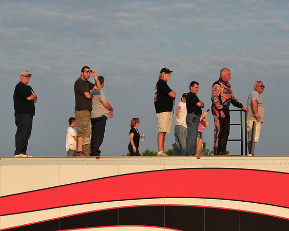 "Fred Rahmer and company survey the track from atop their hauler at Bridgeport Speedway's June 19th ""Night of Wings"" event.  This photo appeared in the June 26th edition of Area Auto Racing News."