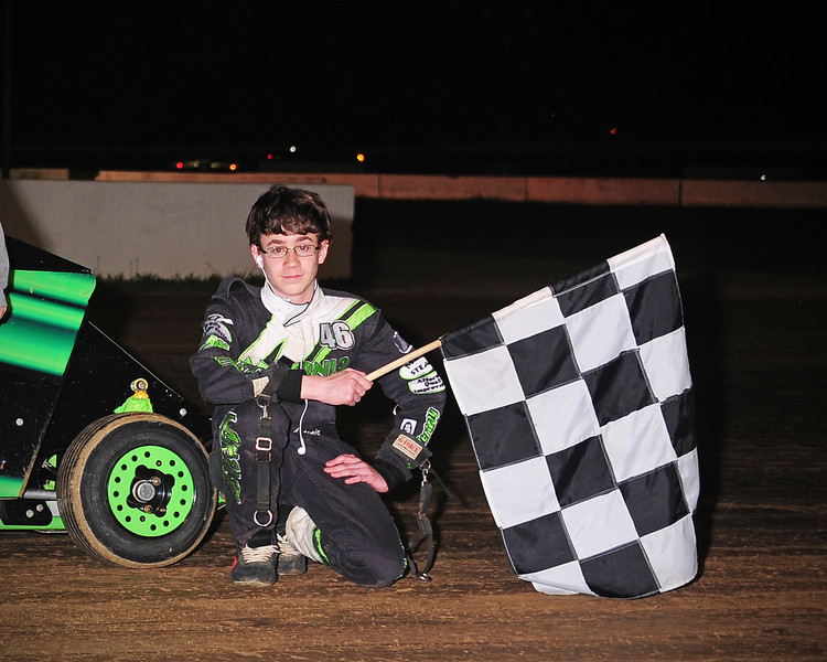 Brian Antonio in victory Lane at Bridgeport Speedway.  This photo from the May 9th. Slingshot race appeared in the 5/13 Area Auto Racing News.