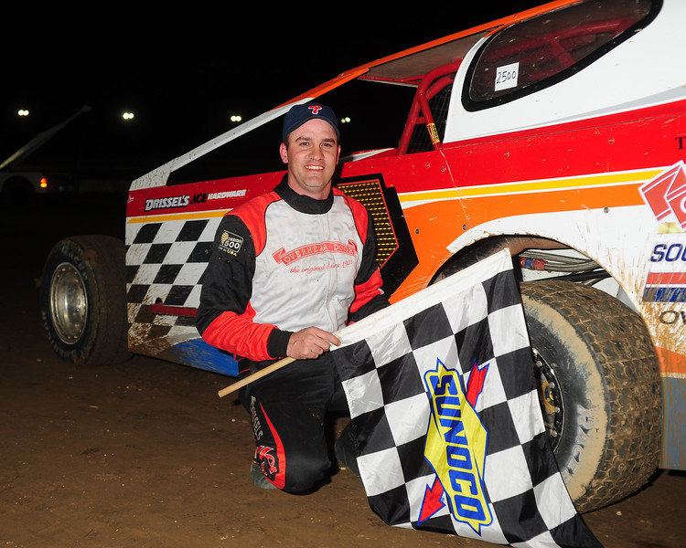 Richie Pratt Jr. in Victory Lane.   This May 17 photo appeared in the 5/20 Area Auto Racing News.