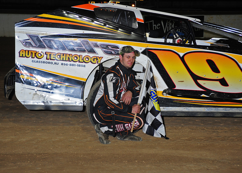 Travis Hill in Crate/Sportsman Victory Lane at Bridgeport Speedway on 4/12.  April 15 AARN