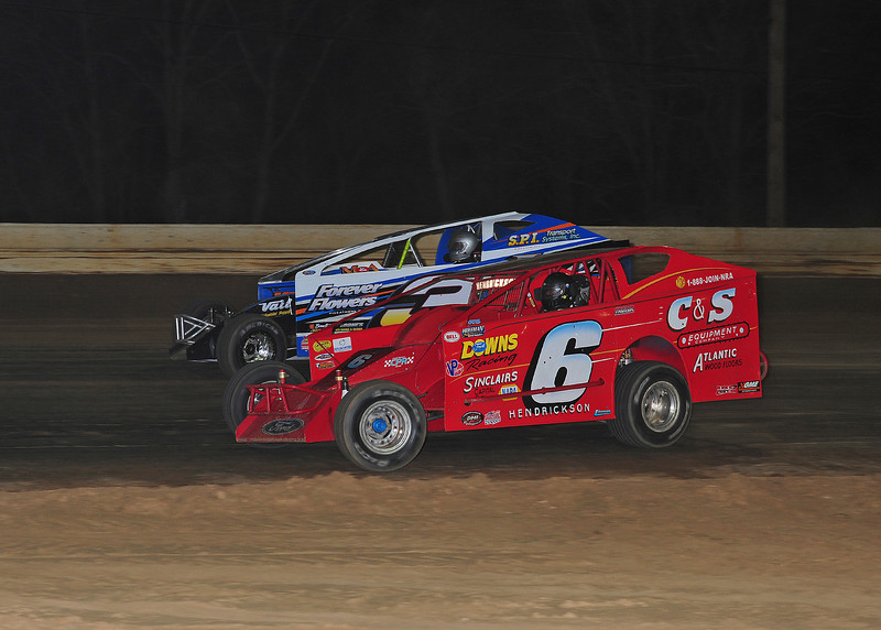 Wade Hendrickson and Sammy Martz in Saturday night Big Block action at Bridgeport Speedway on 4/11.  April 15 AARN
