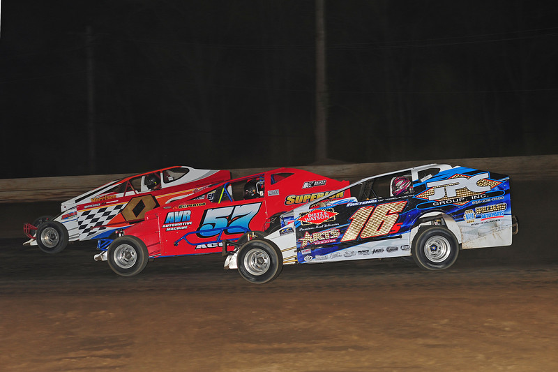 Three wide racing in the Bridgeport Big Block feature.  This May 17 photo appeared in the 5/20 Area Auto Racing News.
