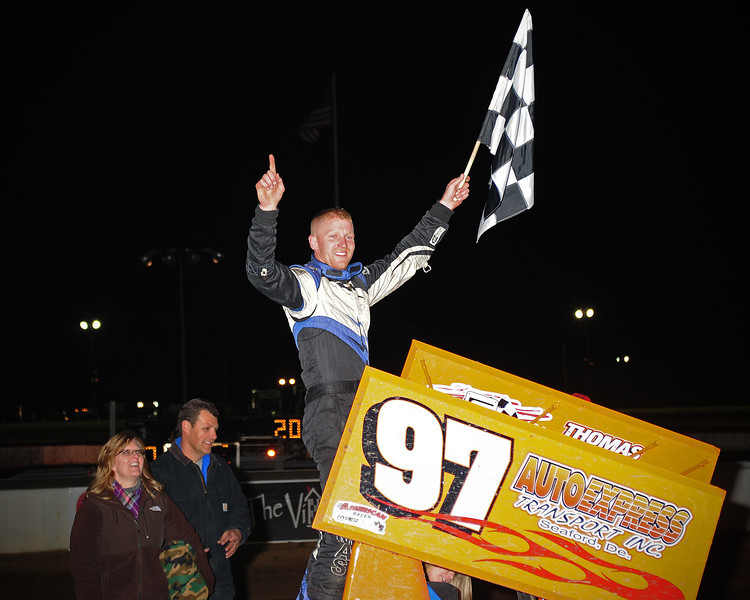 Luke Thomas in 600cc Victory Lane at Bridgeport Speedway on 4/18.  This photo appeared in the April 22 edition of AARN.