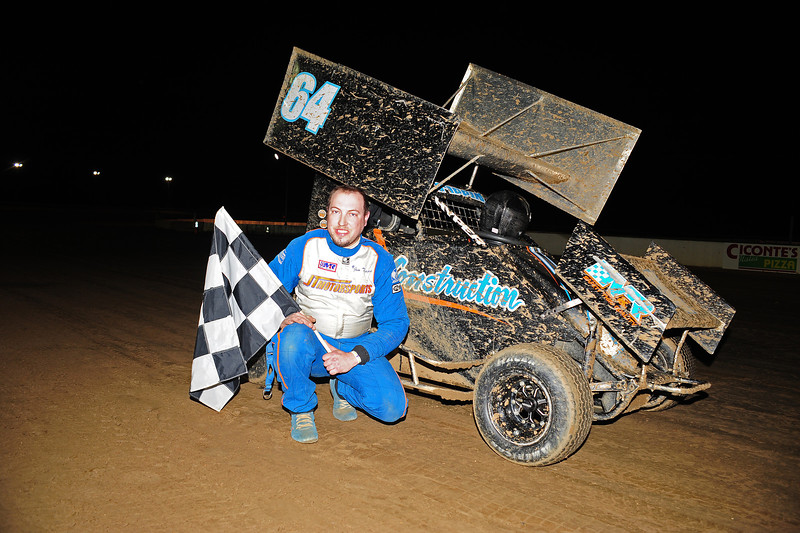 Jim Tippin in Victory Lane after winnng the  4/11 600cc feature at Bridgeport Speedway.   April 15 AARN