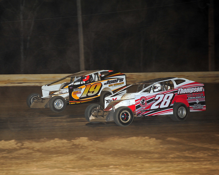 Travis Hill on his way to Victory Lane at Bridgeport Speedway on 4/26.   This photo appeared in the April 29 edition of AARN.