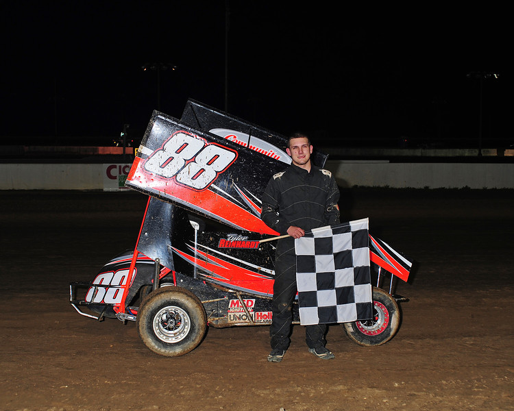 Andrew Locuson in Bridgeport 600cc Victory Lane.  This photo from the May 2nd. race appeared in the 5/6 Area Auto Racing News.