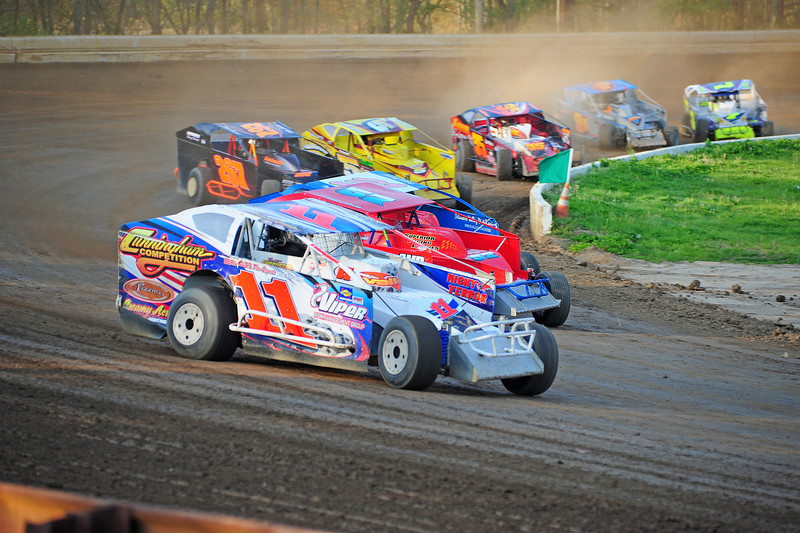 Coming out of the corner at Bridgeport.  This photo from the May 3rd. race appeared in the 5/6 Area Auto Racing News.