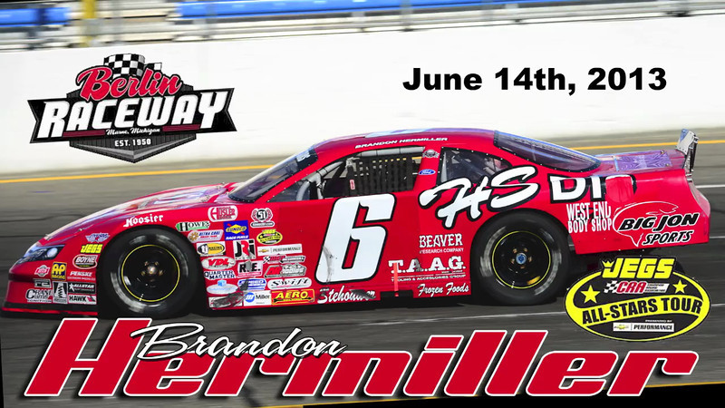 In car video of the Jegs/CRA All-stars Pro Late Model of Brandon Hermiller at Berlin Raceway. June 14th, 2013