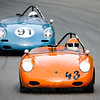 #43 1960 Porsche 356  , Orange/Cream, EP, Loveall Jim, Group 1a/2b small & medium bore production & 91 1961 Porsche 356 S90, Blue, EP, Arthur Conner, Group 1a/2b small & medium bore production