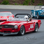 """44 Charly Mitchel, 1969 Triumph TR6"", ""38 Gunter Pichler, 1964 Jaguar E - Type"""