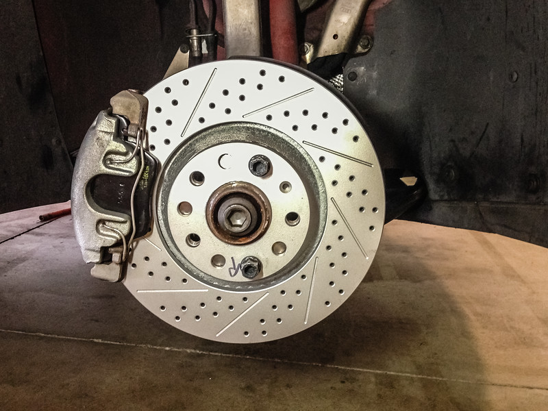 AFTER - ECS Tuning Brake kit. Hawk Pads, ECS Geomet Drilled and Slotted Rotors.