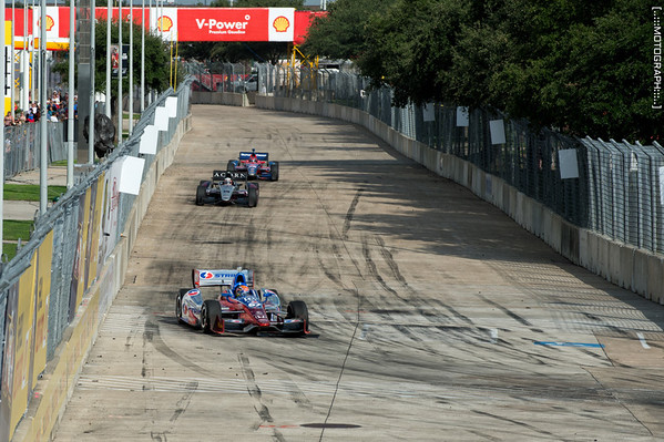 Josef Newgarden enters turn six during Saturday's race.  He would go on to finish fifth.