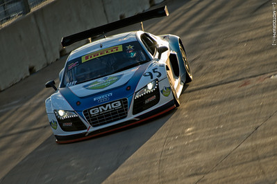 Pilot Bill Ziegler slices through the final turn late on Friday to complete practice for the Pirelli World Challenge.