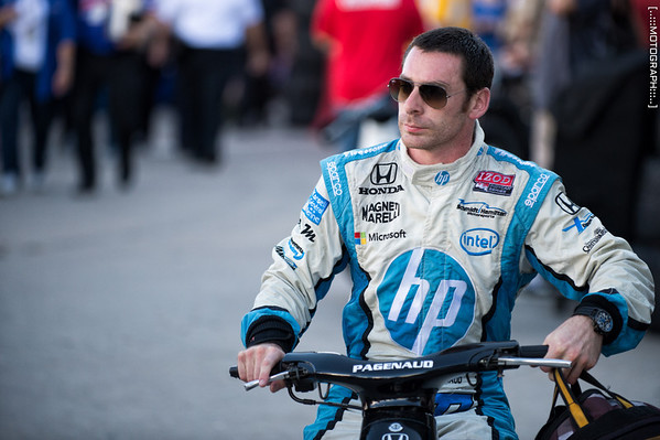 Simon Pagenaud heads to his trailer after Saturday's practice.