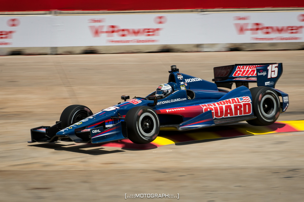 Graham Rahall of RLL Racing launches off the curbing in Turn 2