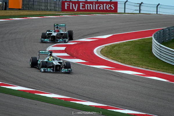 Team Mercedes pilots Nikko Rosberg and Lewis Hamilton pair up prior to qualifying on Saturday
