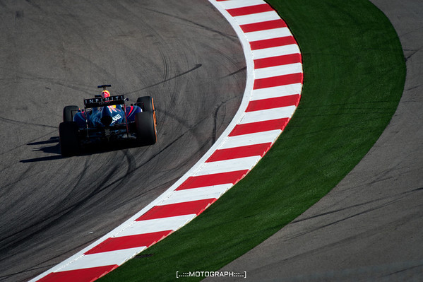 Team Red Bull's Sebastian Vettel slices through turn seven during FP2