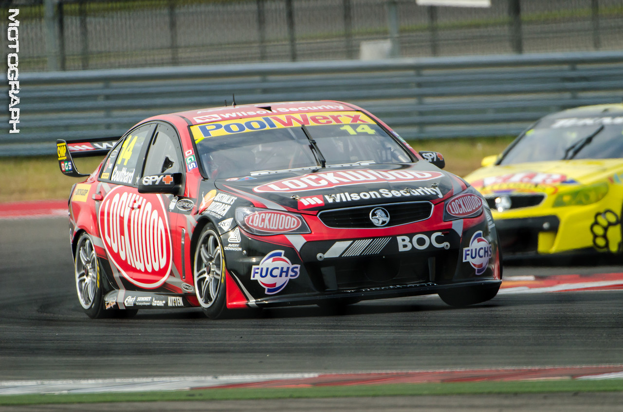 Lockwood Racing's Fabian Coulthard exits turn 20 headed for the front stretch