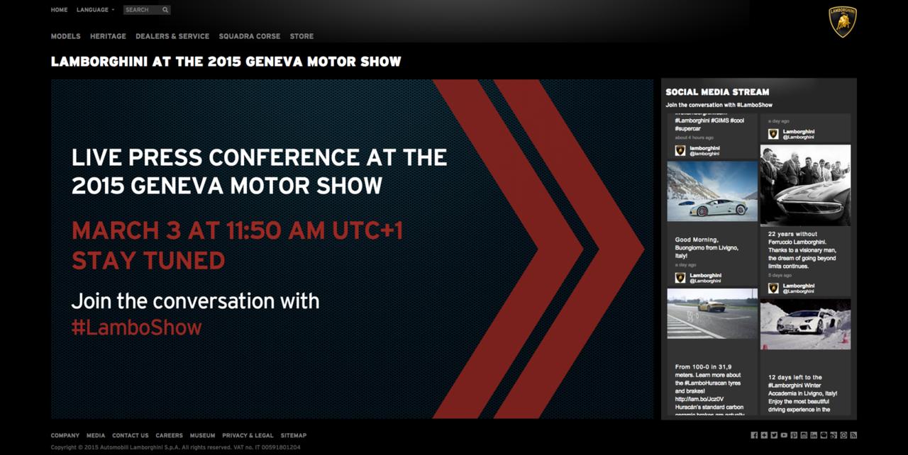 Live Streaming 2015 Geneva Motor Show Automobili Lamborghini S.p.A.2