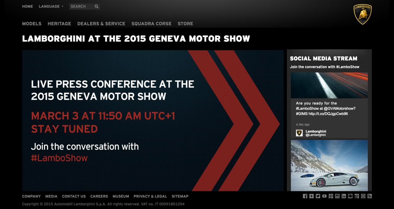 Live Streaming 2015 Geneva Motor Show Automobili Lamborghini S.p.A.