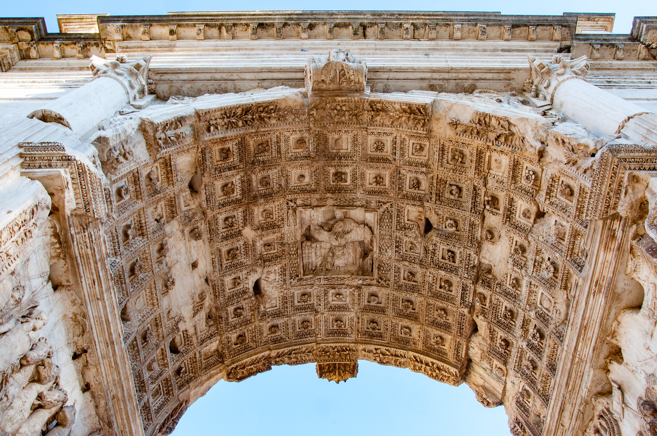 Arch of Constantine in Rome, situated between the Colosseum and the Palatine Hill. It was erected by the Roman Senate to commemorate Constantine I's victory over Maxentius at the Battle of Milvian Bridge in 312.