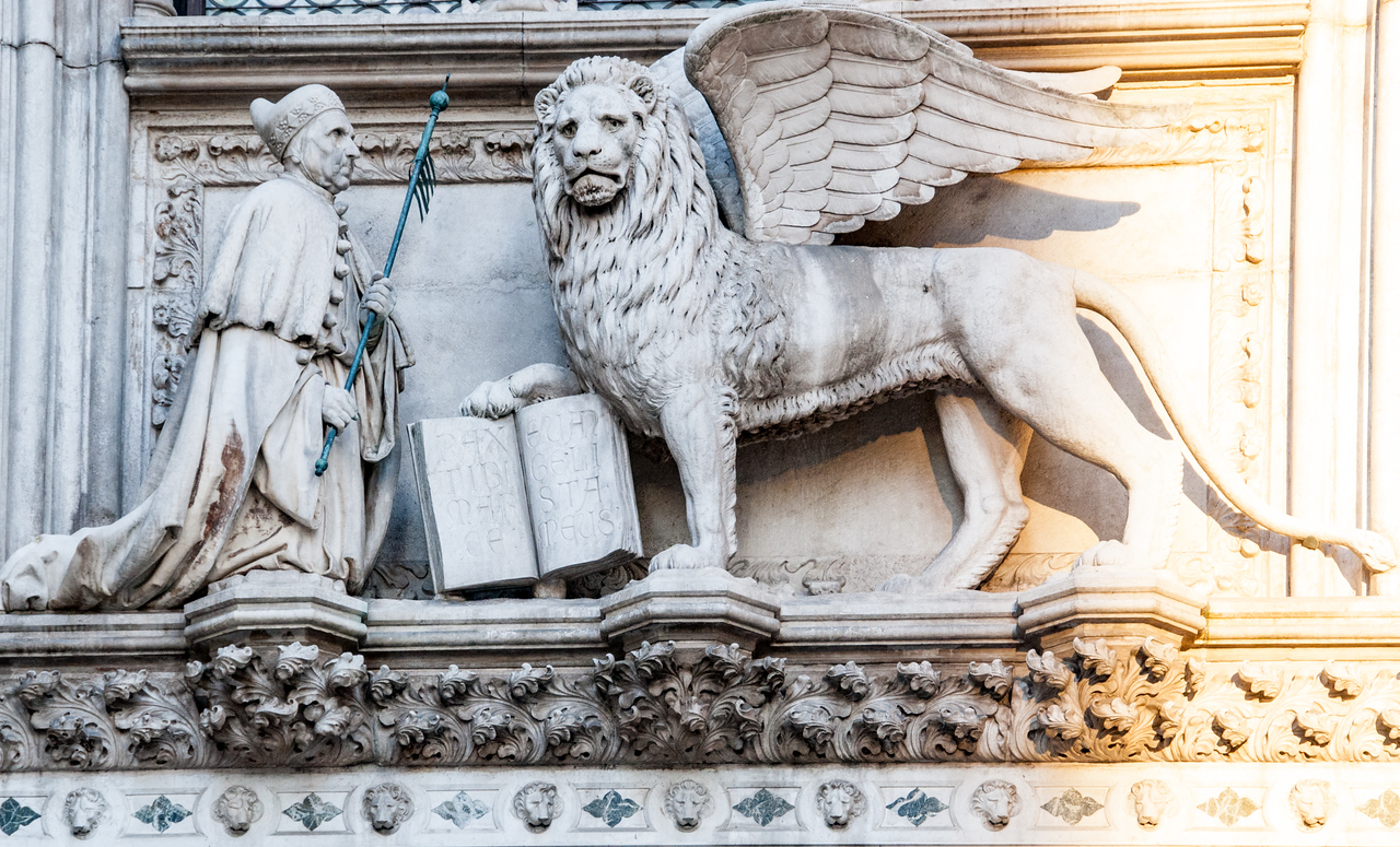 Winged lion and book is a symbol of Venice